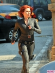 Scarlett Johansson on the set of 'The Avengers'