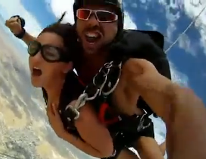 While skydiving sex