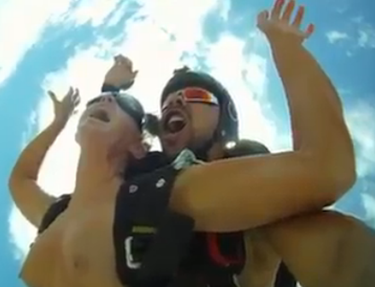 Couple Having Sex Skydiving
