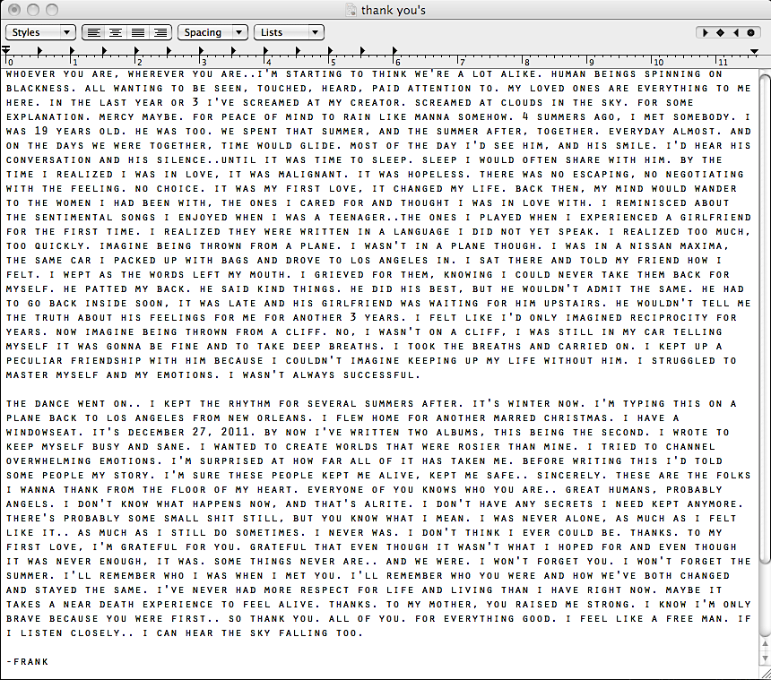 ... come out in a letter/screenshot of a TextEdit document posted on his