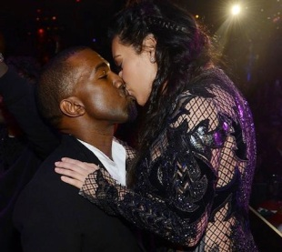 Kim and Kanye kissing