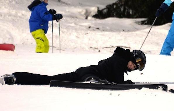 Madonna skiiing