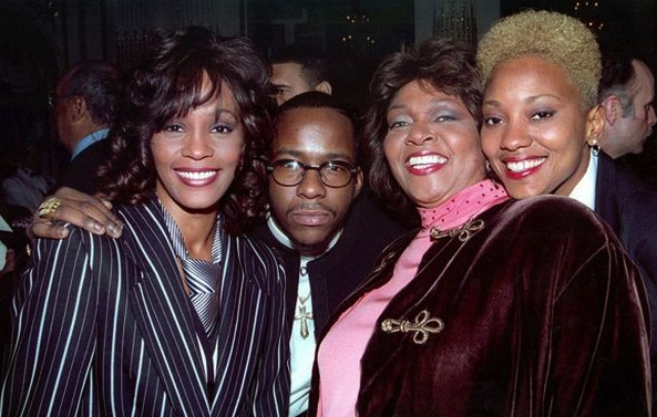 From left: Whitney Houston, Bobby Brown, Cissy Houston and Robyn Crawford