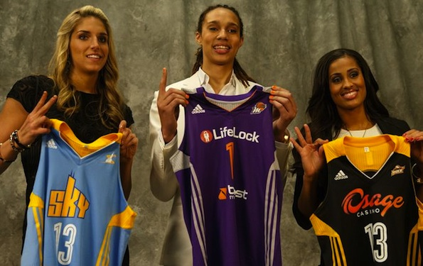 Newly drafted Griner with #2 and #3 picks Skylar Diggins (right) and Elena Delle Donne (left)