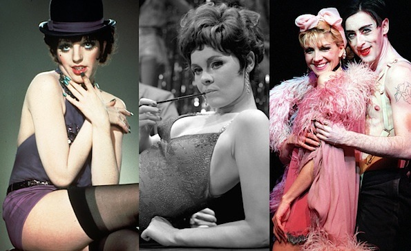 Actresses of Cabaret Past: Liza Minelli in the 1972 film, Judi Dench ( 1968), and Natasha Richardson (1998)