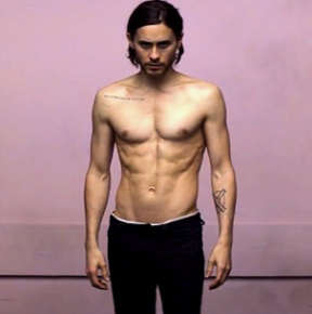 Jared Leto shirtless up in the air 2