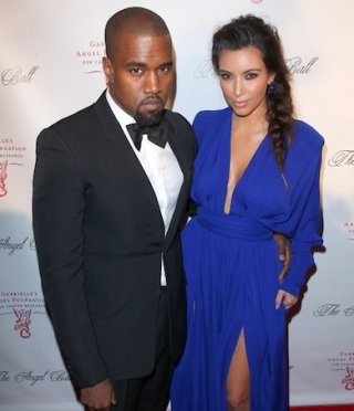 Kim and Kanye serious face