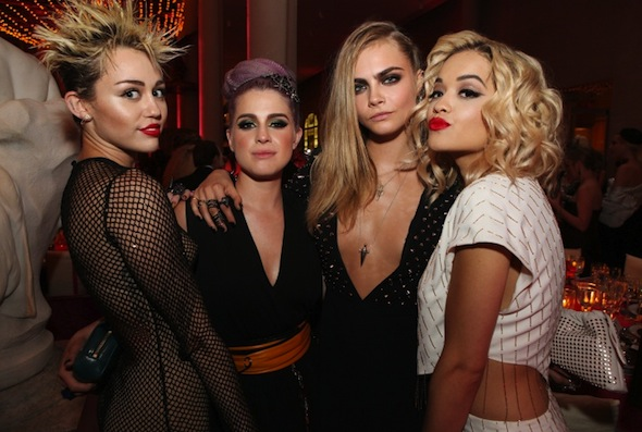 From left: Miley Cyrus, Kelly Osbourne, Cara Delevingne and Rita Ora