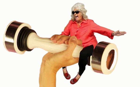 paula deen riding shake weight