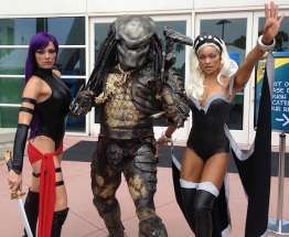 Adrianne Curry as Psylocke with predator and Alicia Marie as Storm
