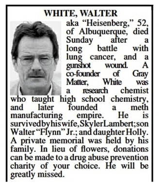 Walter White real obituary