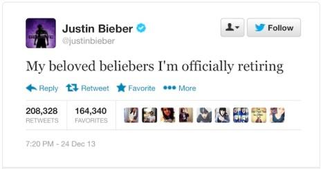 Justin bieber retiring tweet