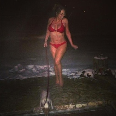 Mariah Carey bikini snow