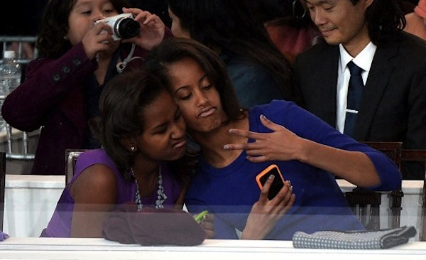 Sasha and malia selfie