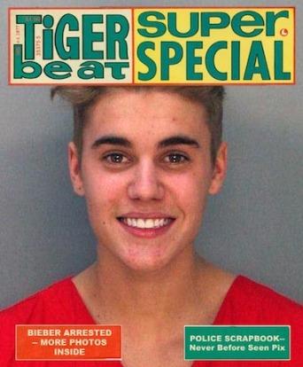 Jutin Bieber tiger beat mugshot meme