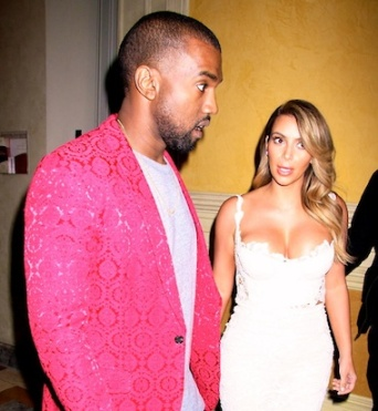 Kim and Kanye making faces