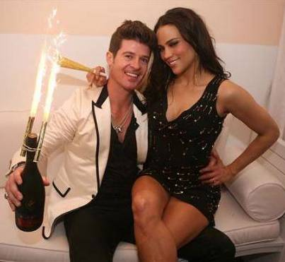 Robin Thicke and Paula Patton happy
