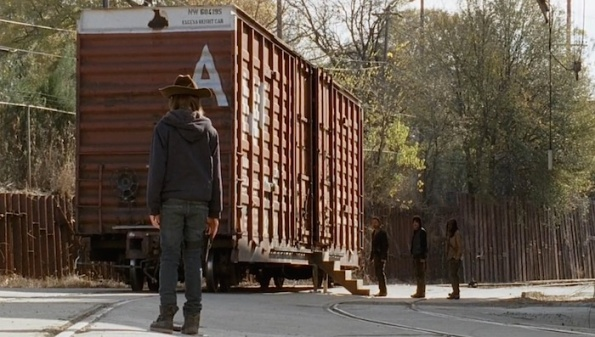 cargo container train car The Walking Dead finale