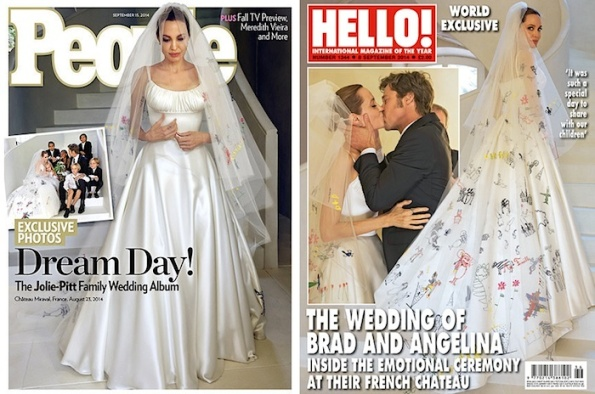 Angelina jolie wedding dress front and back