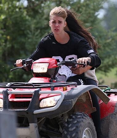 Justin bieber four wheeler