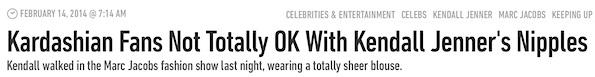 kendall jenner nipples headline