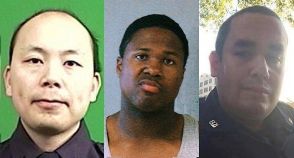 From left: Wenjian Liu, Ismaaiyl Brinsley and Rafael Ramos