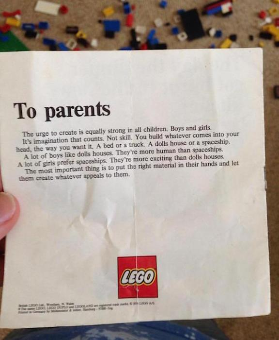 lego message to parents