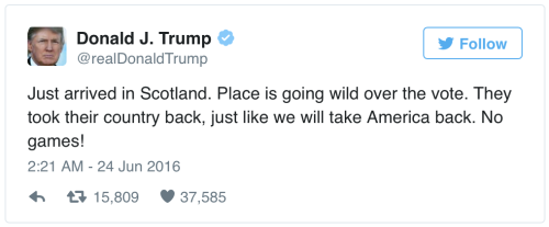 donald trump brexit tweet